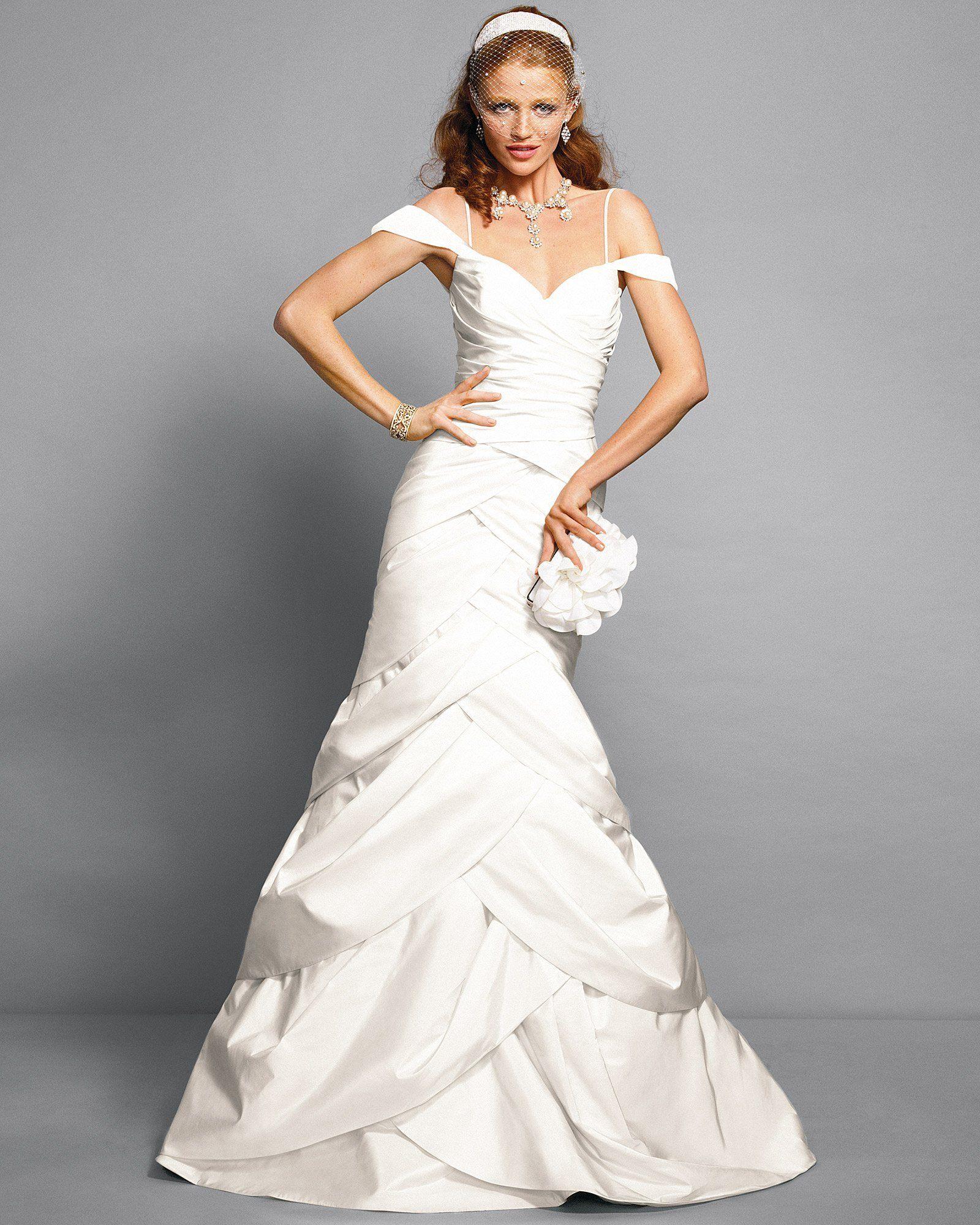 Off Shoulder Tulip Trumpet Wedding Dress designed by Rami Kashou for ...