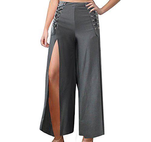 6388f939f0e819 GUOLEZEEV Women High Slit Palazzo Pants Bandage High Waisted Wide Leg  Trousers