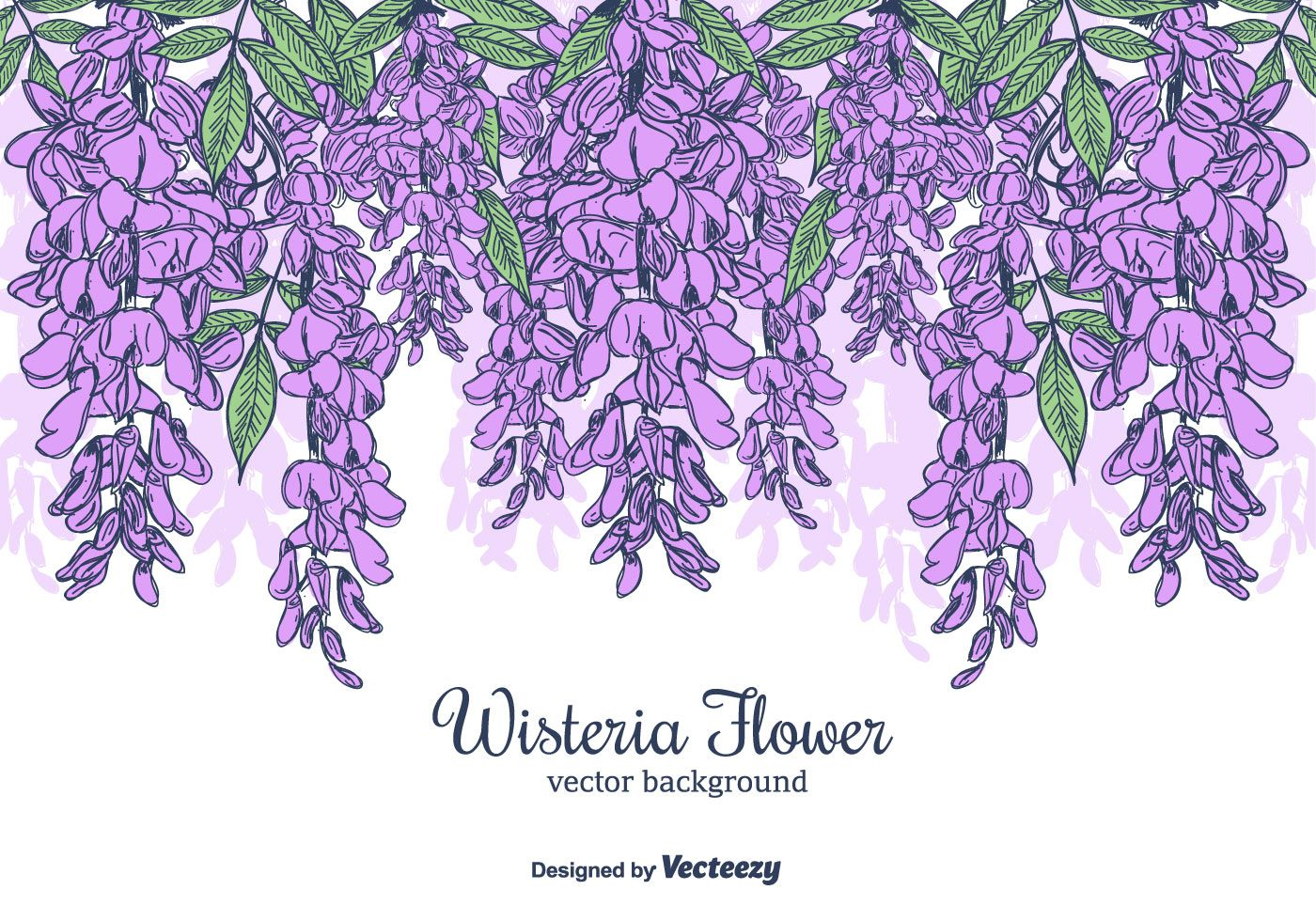 Beautiful Hand Drawn Backgound Full Of Hanging Wisteria Flower Great For Card Making Scrapbooking Wallpapers Vector Art Design How To Draw Hands Vector Art