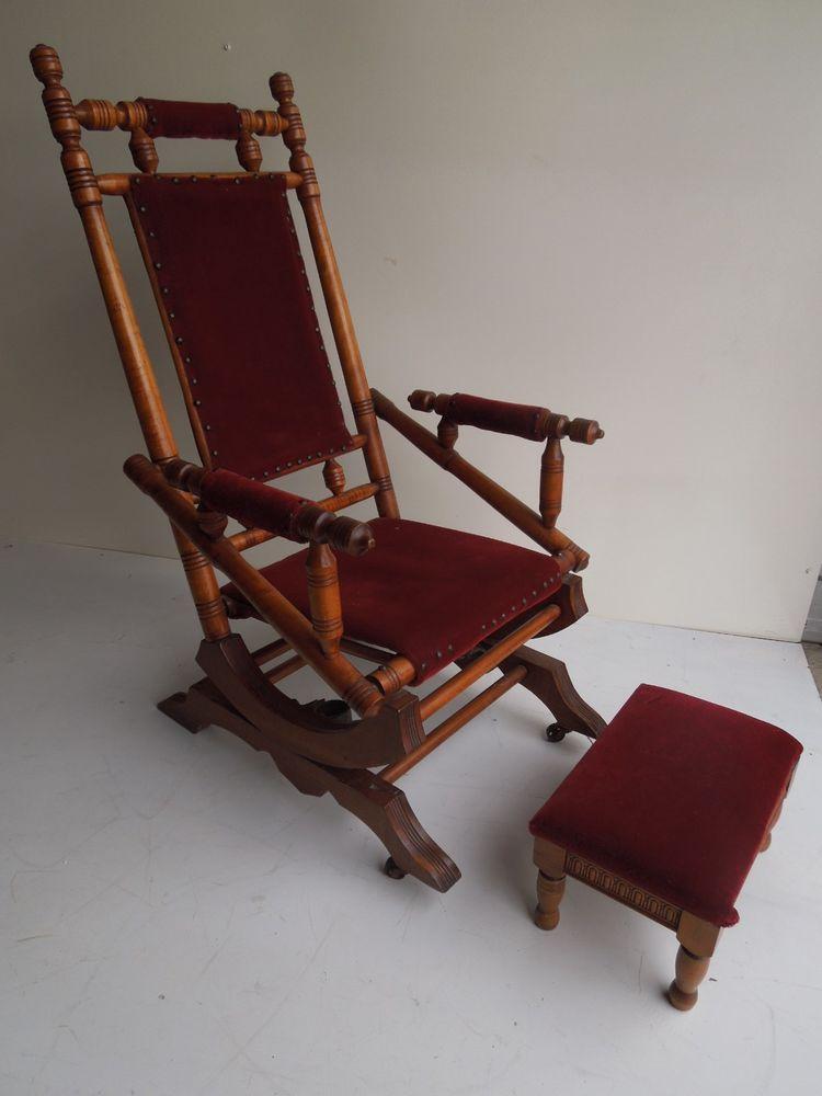 Regency Mid Century Antique Vintage spindle platform rocking chair with  stool #Regency - Regency Mid Century Antique Vintage Spindle Platform Rocking Chair