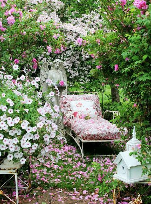 Garden spot, romantic chaise, decor and flowers