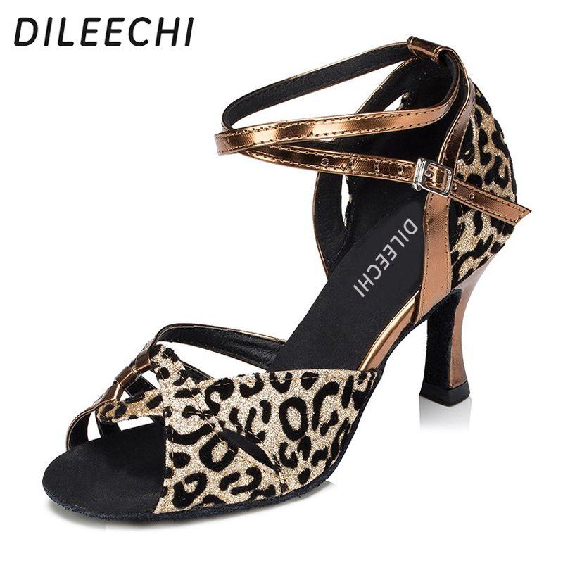 DILEECHI platform high-heeled Leopard satin Latin dance shoes female adult Ballroom  dancing shoes Salsa samba Tango shoes f6c3d09933a9