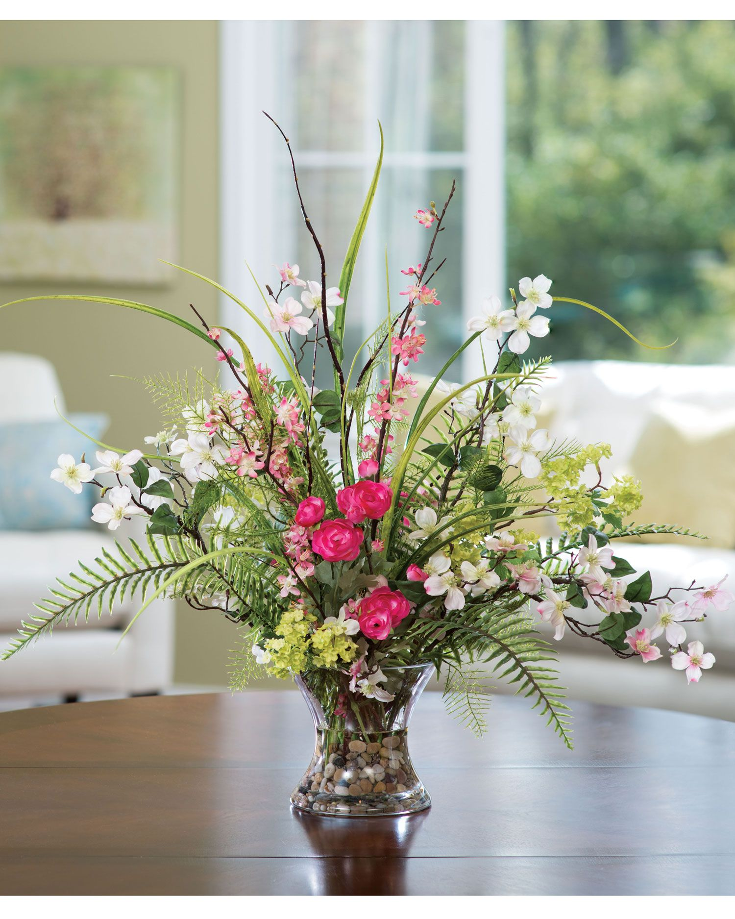 Artificial Flower Decoration: Spring Decorating With Dogwood, Ranunculus & Fern Silk