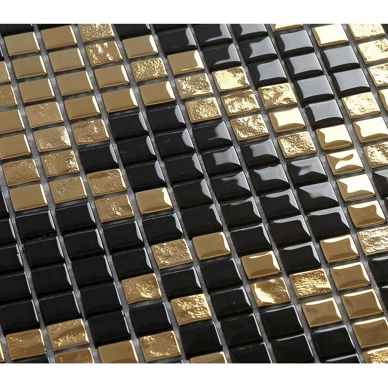 Gold And Black Plating Glass Mosaic Tile Murals Frosted Crystal Collages  Backsplash Puzzle Wall Stickers Decor