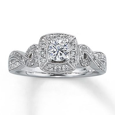Diamond Engagement Ring 5 8 Ct Tw Round Cut 14k White Gold