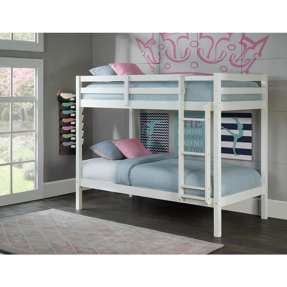 Caspian White Twin Over Twin Bunk Bed