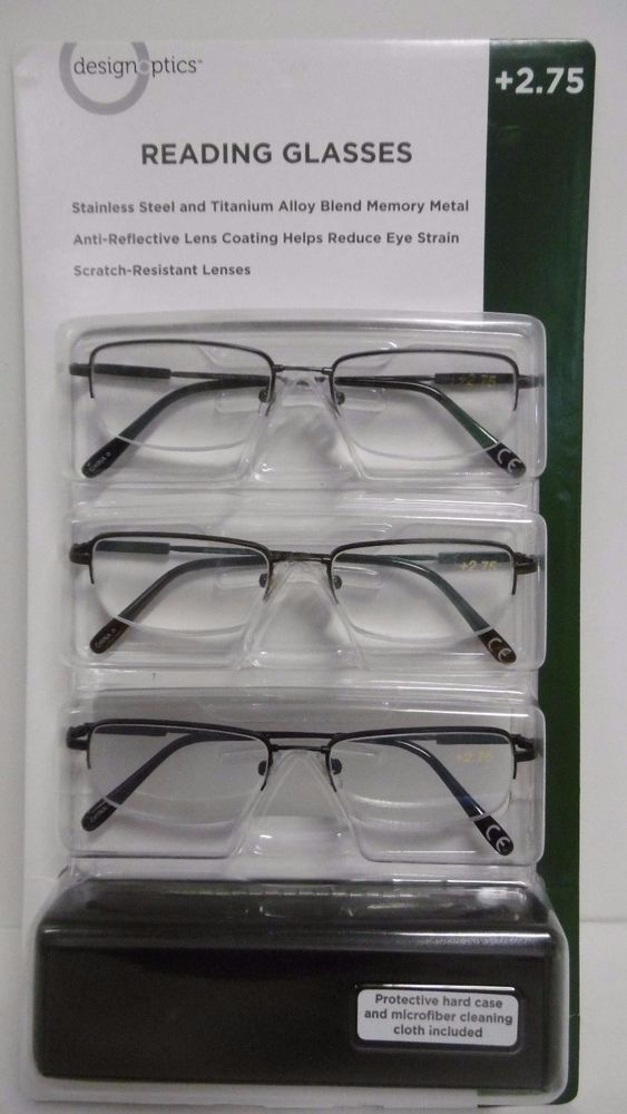 115fda82bf DESIGN OPTICS 3-PACK +2.75 READING GLASSES TITANIUM ALLOY MEMORY METAL B60-4   DesignOptics