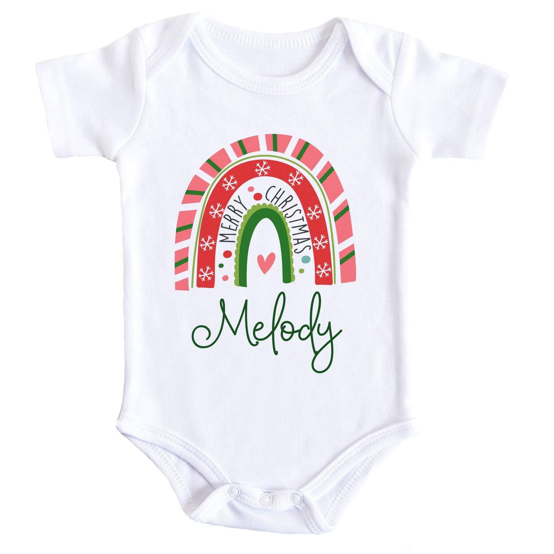 Merry Christmas Rainbow Personalised Baby Bodysuit - Newborn / Long Sleeve