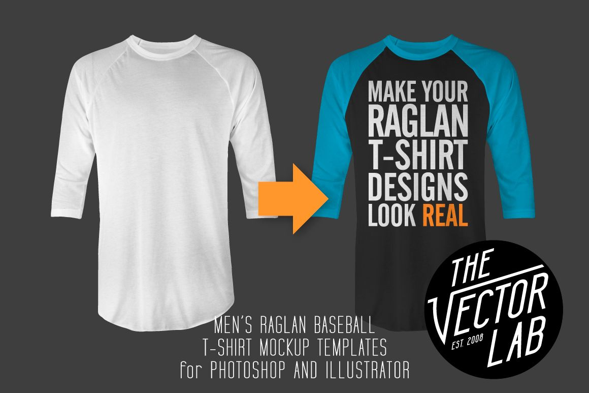 Men\'s Raglan Mockup Templates PSD+AI by TheVectorLab on ...