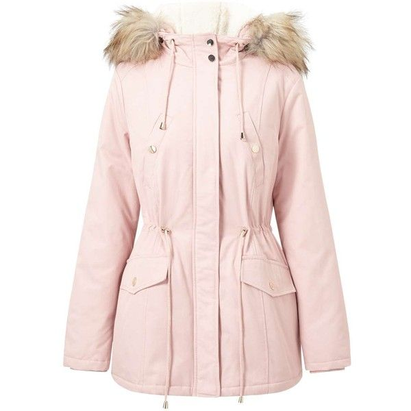 Miss Selfridge Pink Faux Fur Trim Parka, Pink Faux Fur Coat Miss Selfridge