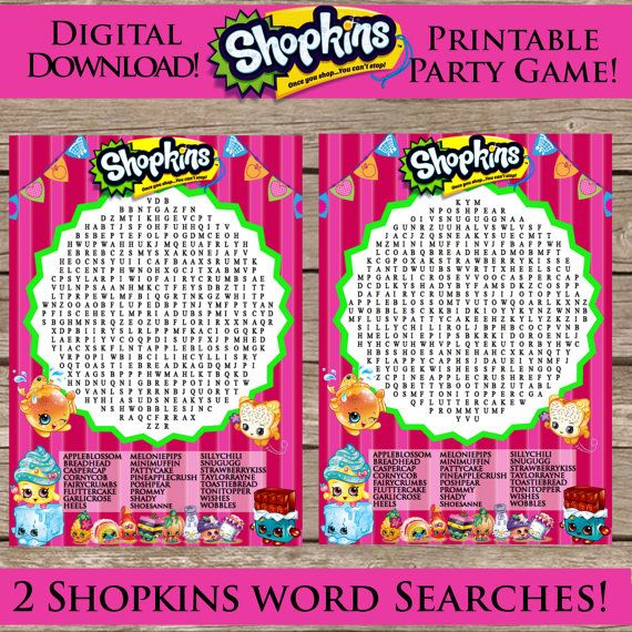 These Are Two Different Shopkins Themed Word Searches! One