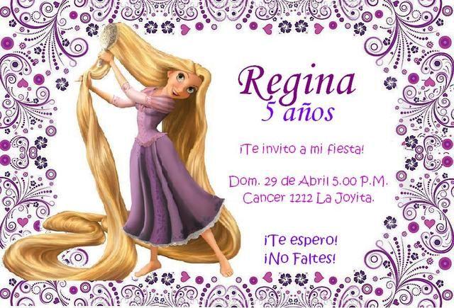 Tarjetas De Invitación De Rapunzel Imagui Invitaciones