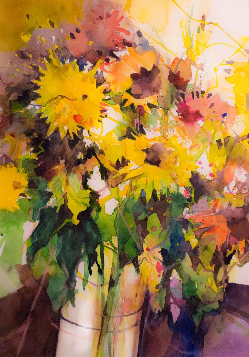 Farbkombinationen im modernen Aquarell | Sonnenblumen | Pinterest ...