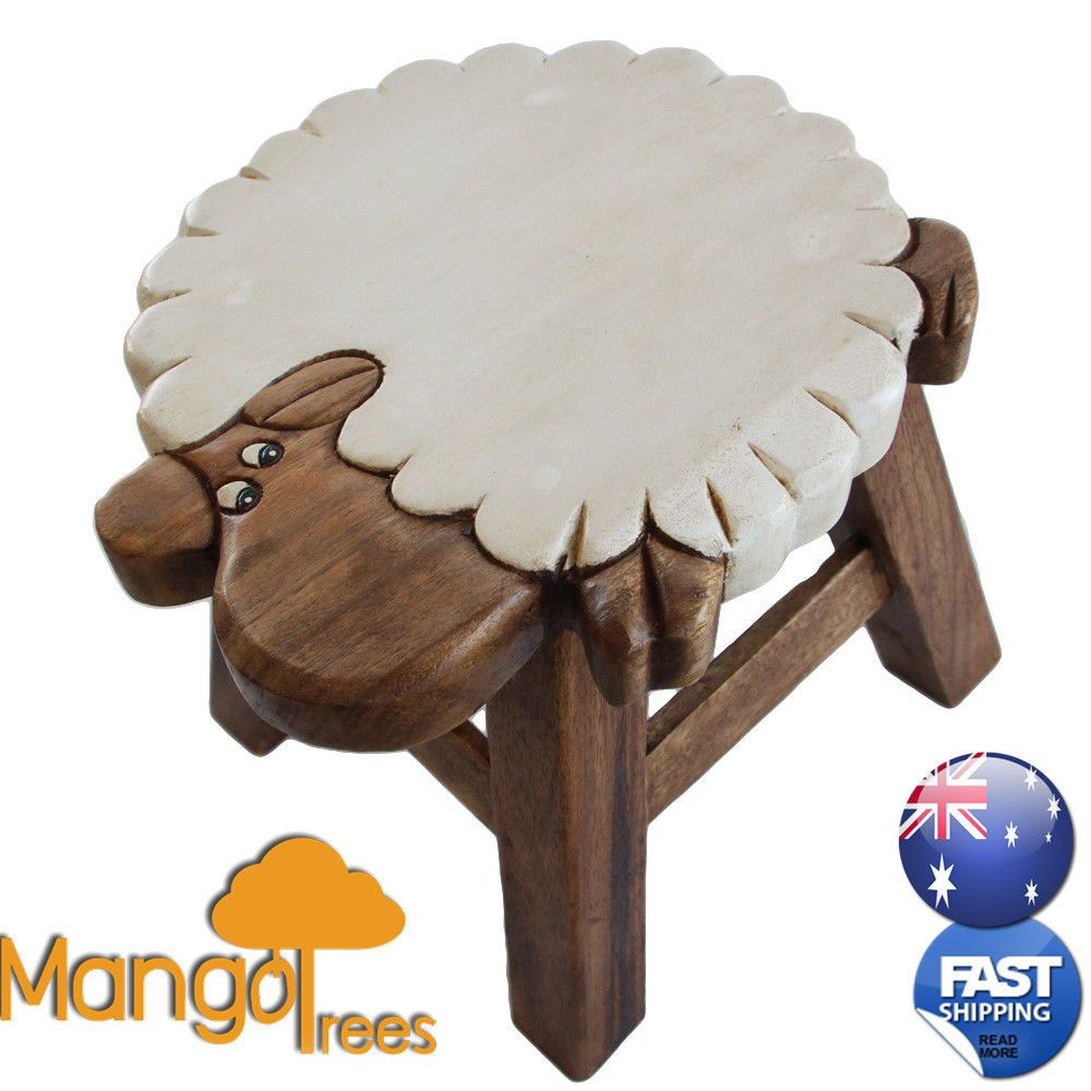 Kids Wooden Step Stool Chair Mangowood Timber Designer Children Furniture  Sheep