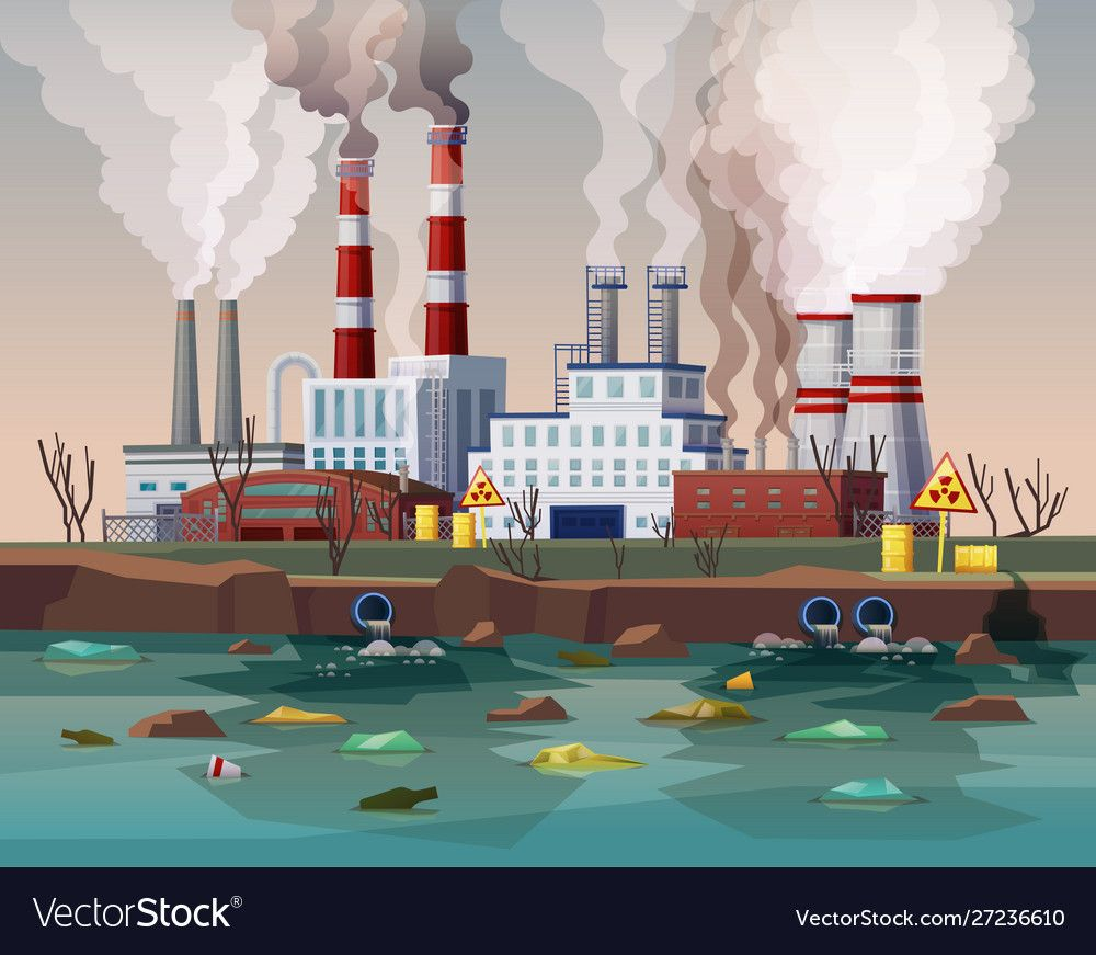 Power Plant Air Pollution Or Industry Factory Vector Image Sponsored Air Pollution Power Pl Air Pollution Project Air Pollution Poster Air Pollution
