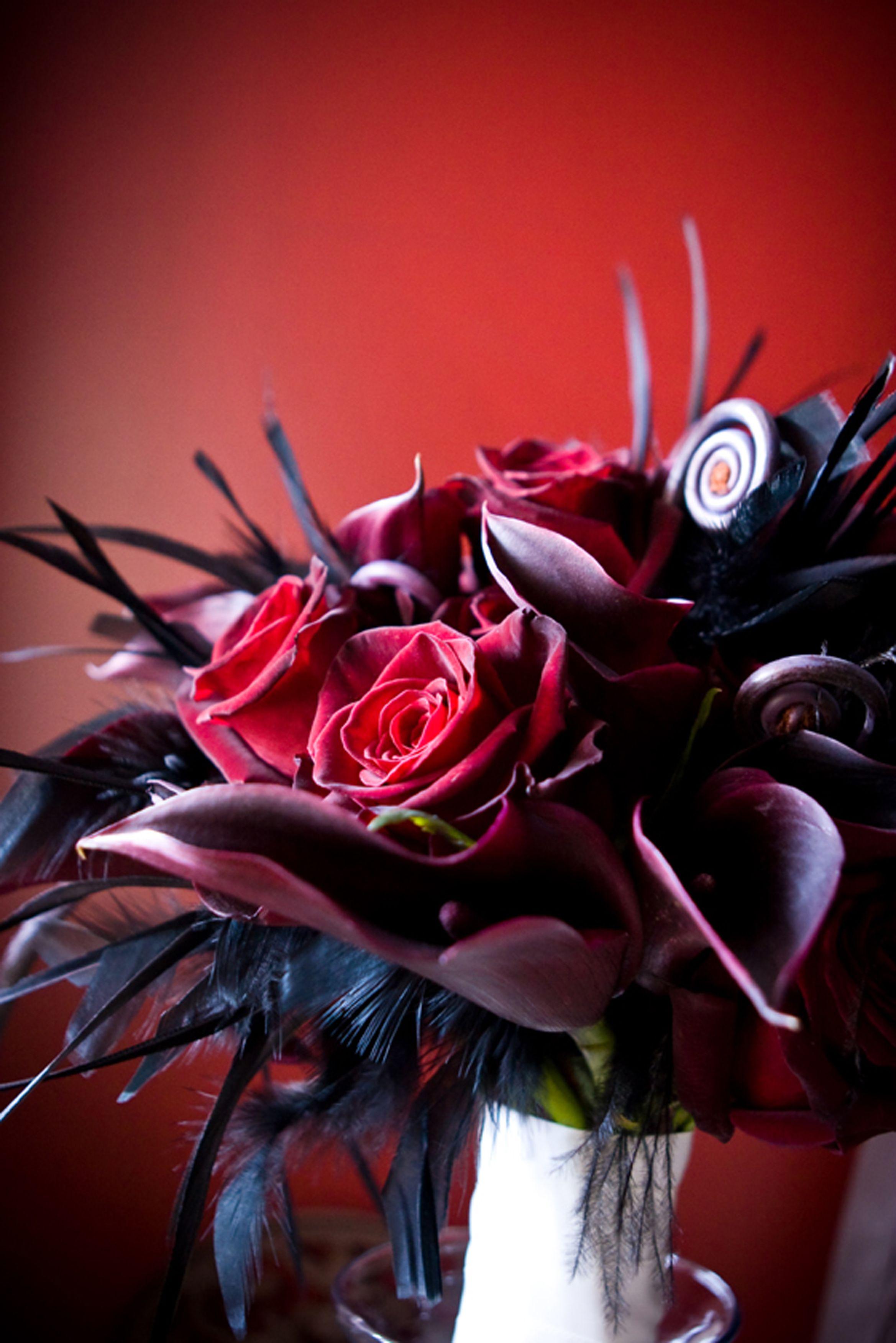 Deep Red Roses Deep Red Calla Lilies Black Fiddlehead Fern Curls