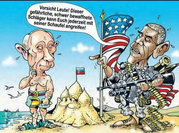 Obama on the beach: Beware people! This dangerous, heavily armed thugs Putin can at any time attack yiu with his shovel! - Obama am Strand: Vorsicht Leute! Dieser gefährliche, schwer bewaffnete Schläger Putin kann Euch jederzeit mit seiner Schaufel angreifen! https://scontent-fra3-1.xx.fbcdn.net/hphotos-xpt1/v/t1.0-9/11350829_866675226738571_1536057973137087561_n.jpg?oh=8f891ef7073e5e6faac8242f978f39b1&oe=55F81F31