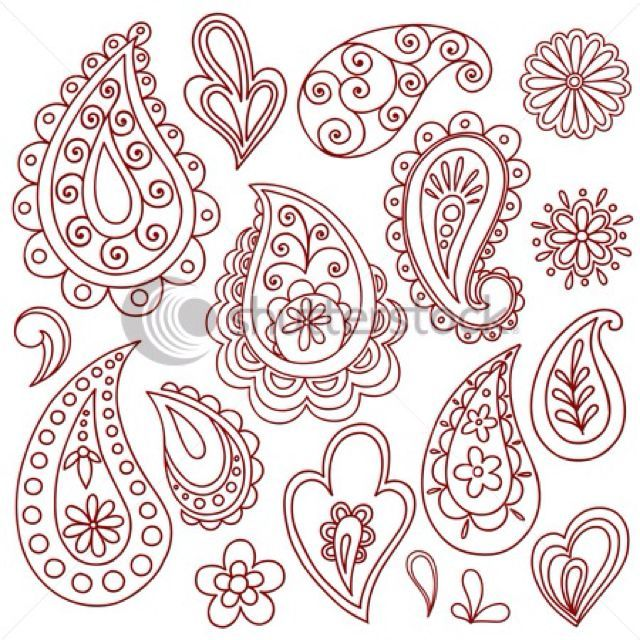 Paisley Stencil Paisley Henna Designs Henna Vector Illustrations