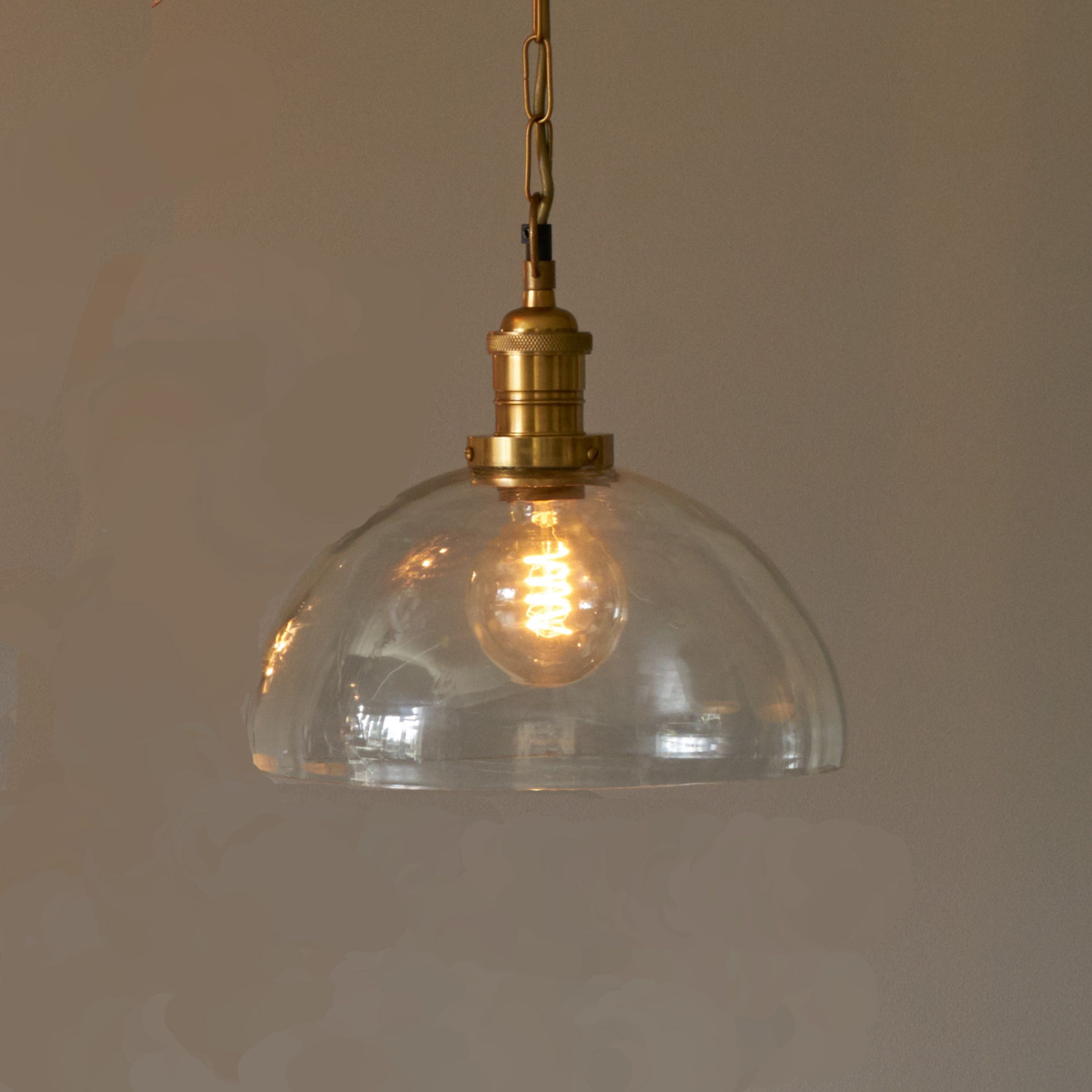 Chilgrove Antique Brass Glass Dome Ceiling Pendant At