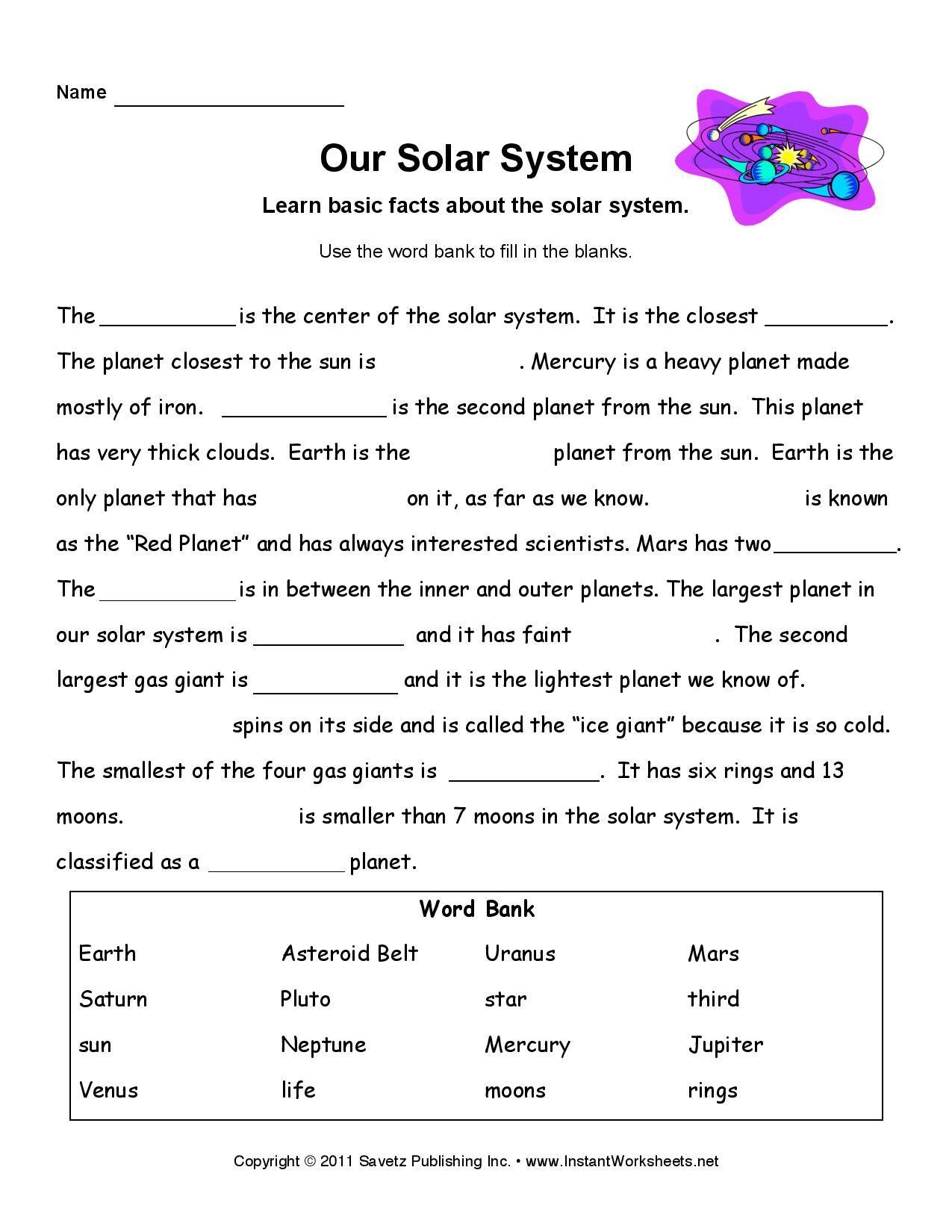 Solar System Worksheet Reading