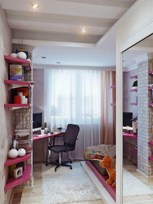kleines jugendzimmer m dchen rosa wandregale eckschreibtisch grau jugendzimmer jugendzimmer. Black Bedroom Furniture Sets. Home Design Ideas