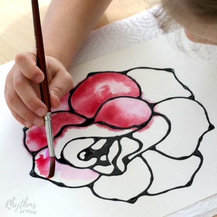 Rose Watercolor Resist Art Project Spring Art Projects Art