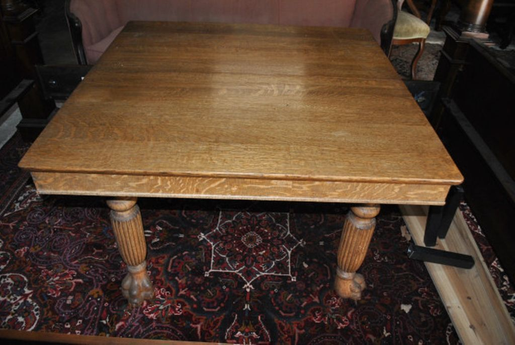 5 Leg Large Antique Square Golden Oak Era Paw Foot Dining Table Circa 1895 Golden Oak Table Dining Table