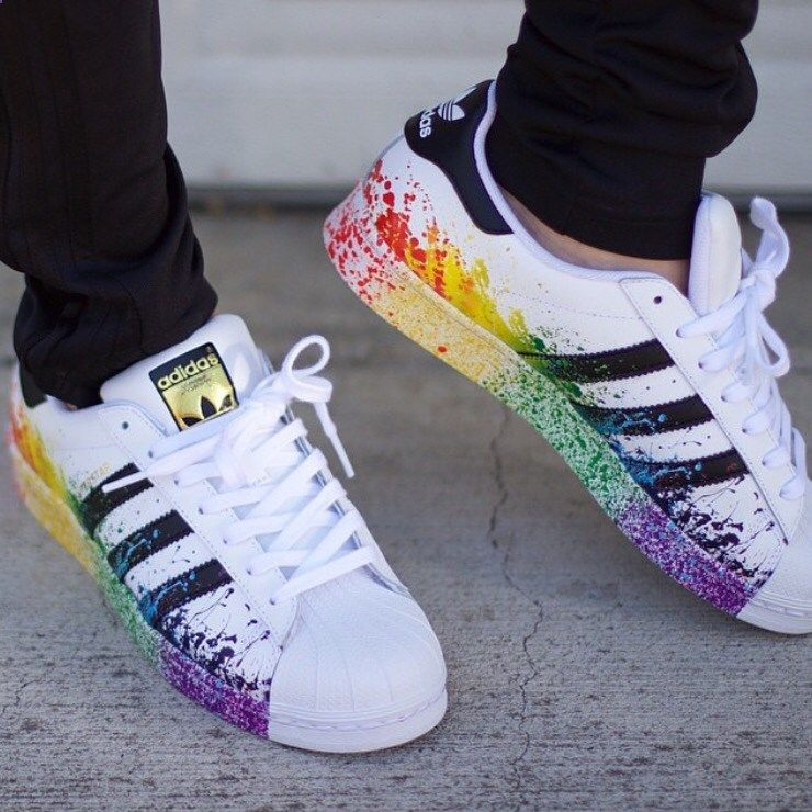 ... are 10 tips to buy these shoes: adidas superstars adidas jeans adidas  originals adidas superstar originals rare pride rainbow custom great paint  splash.