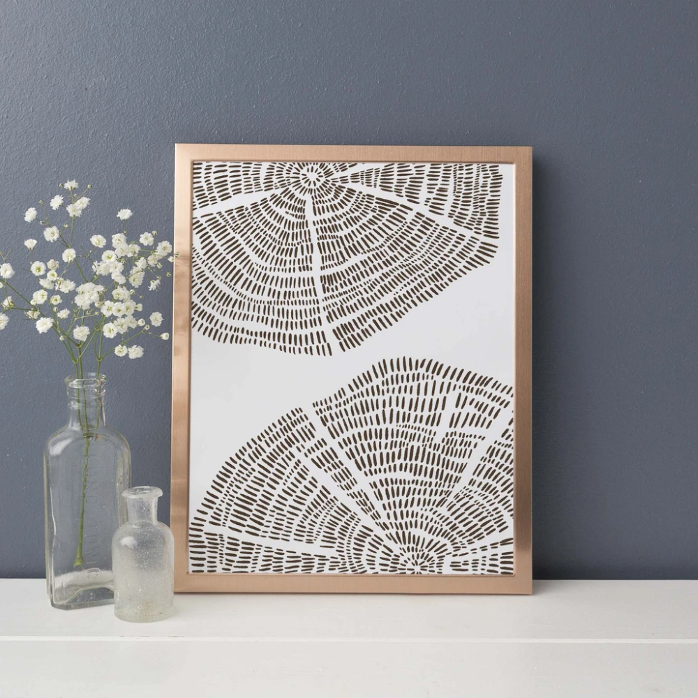 Tree Ring Drawing Modern Forest Wall Art Print or