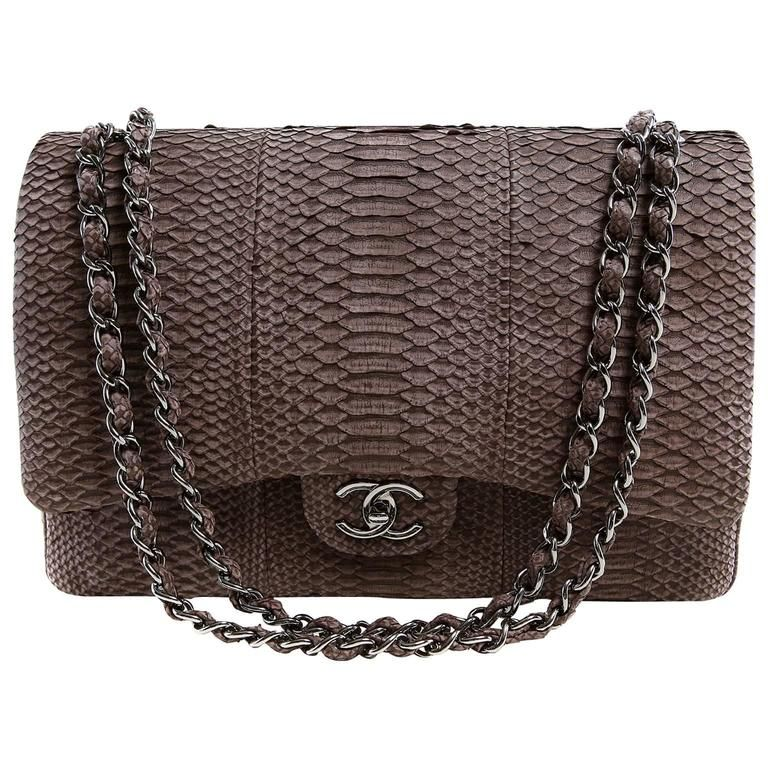 18349774455a Chanel Brown Python Jumbo Classic Flap Bag- Silver Hardware | Mood ...