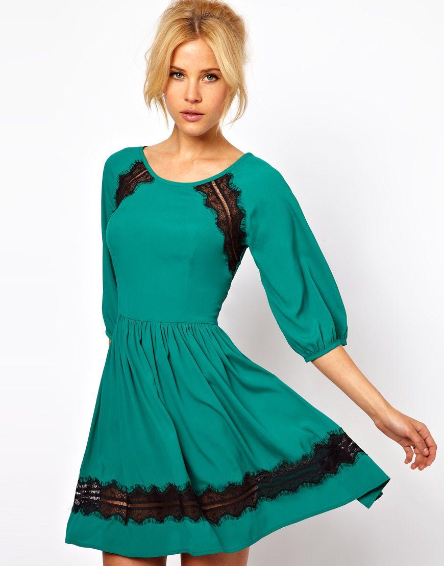 Skater dress with lace trim fashion pinterest lace trim lace