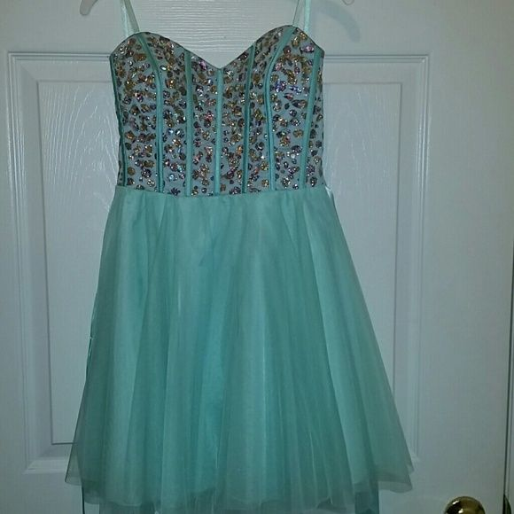 Dress Mint Green & ?? Nights by Teeze me Dresses Strapless