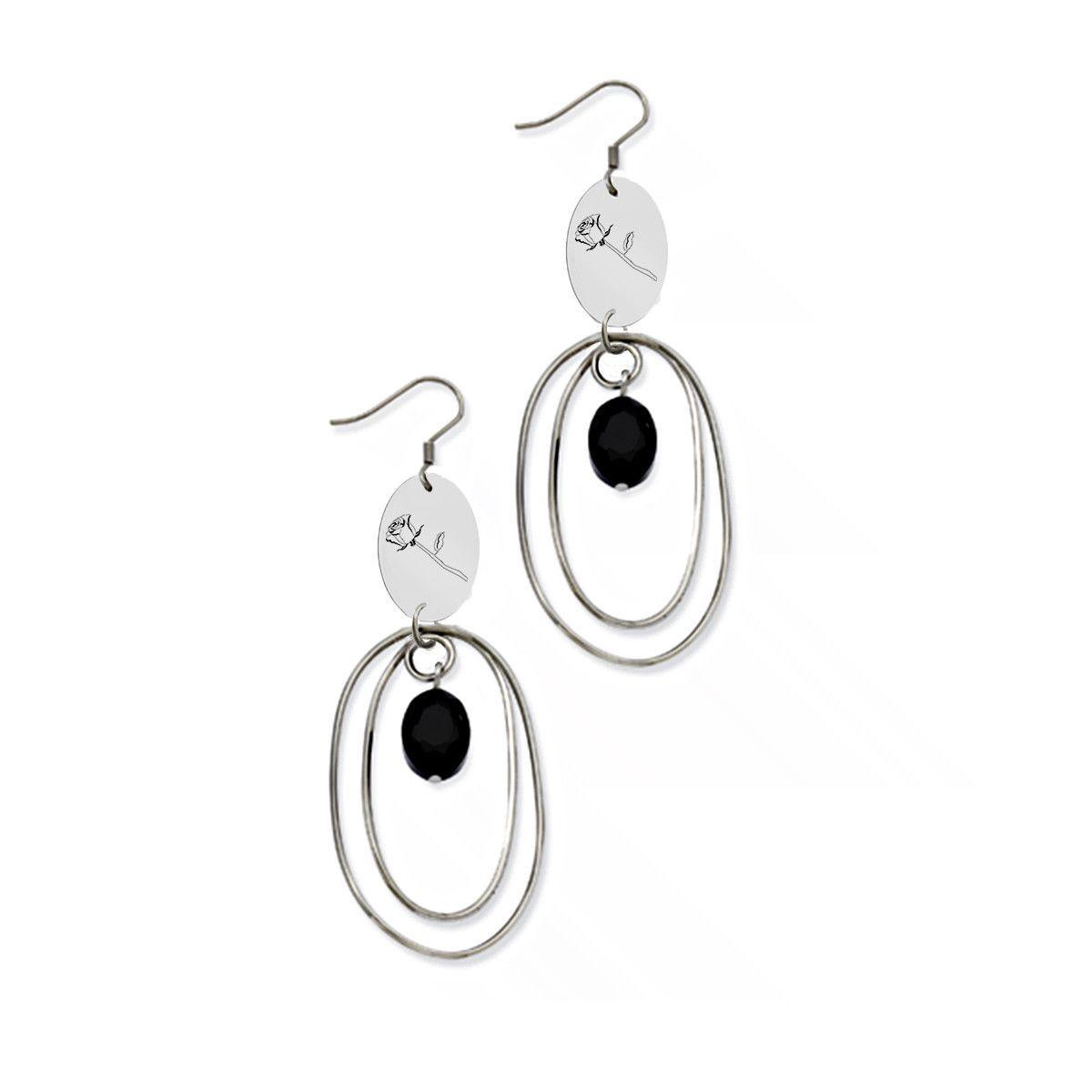 Sigma Alpha Iota Symbol Stainless Steel Loop Earrings Sigma