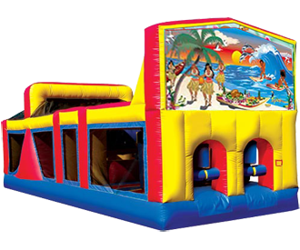 Tropical Paradise 30ft Obstacle Course Childrens Party Themes Curious George Party Curious George Birthday Party
