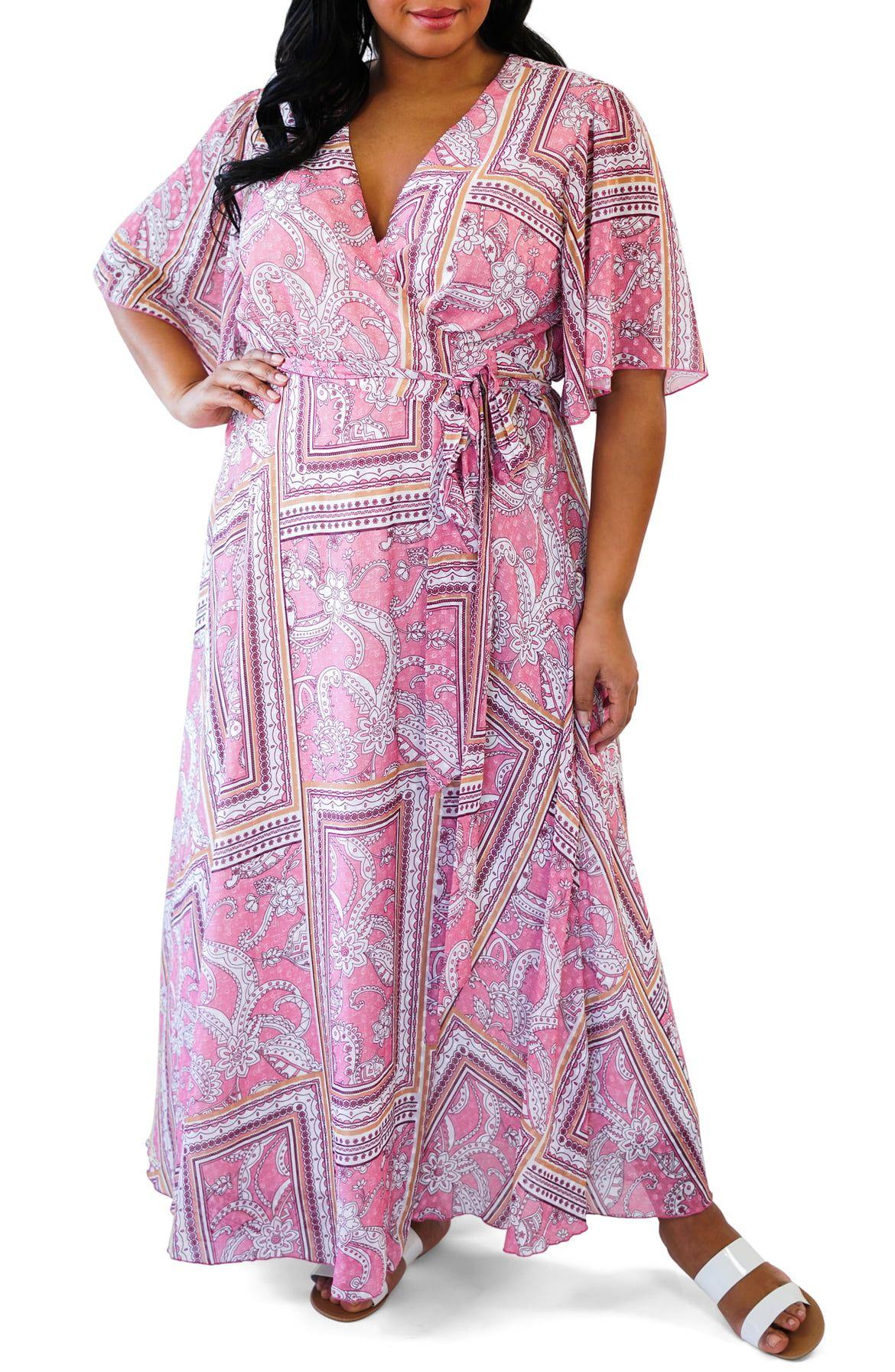 035b3fcff08 Marée Pour Toi Print Wrap Maxi Dress (Plus Size)