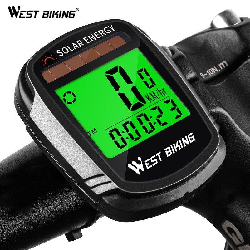 West Biking Wireless Bicycle Computer Solar Power Speedometer