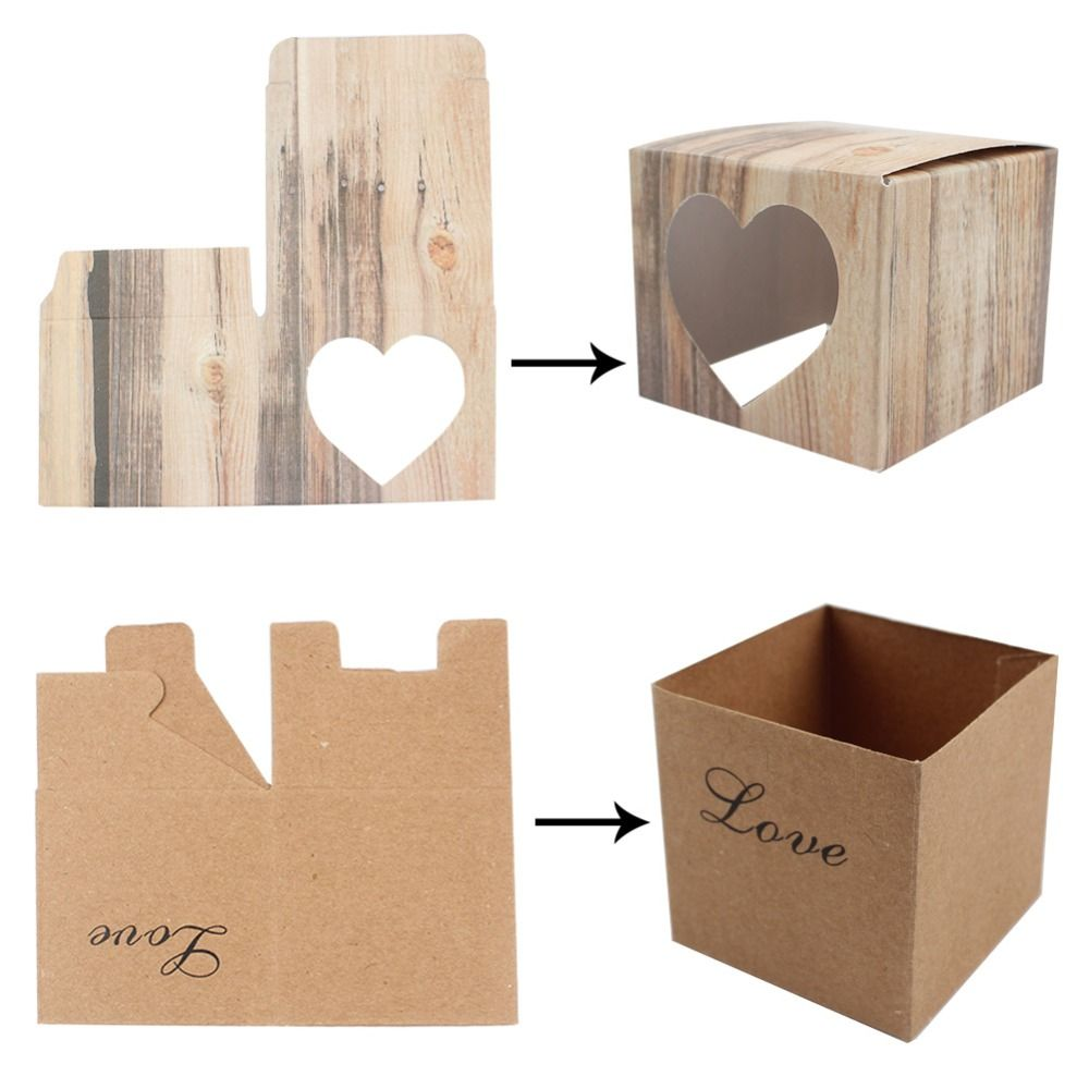 50pcs/lot Romantic Heart Candy Box for Wedding Decoration Vintage ...