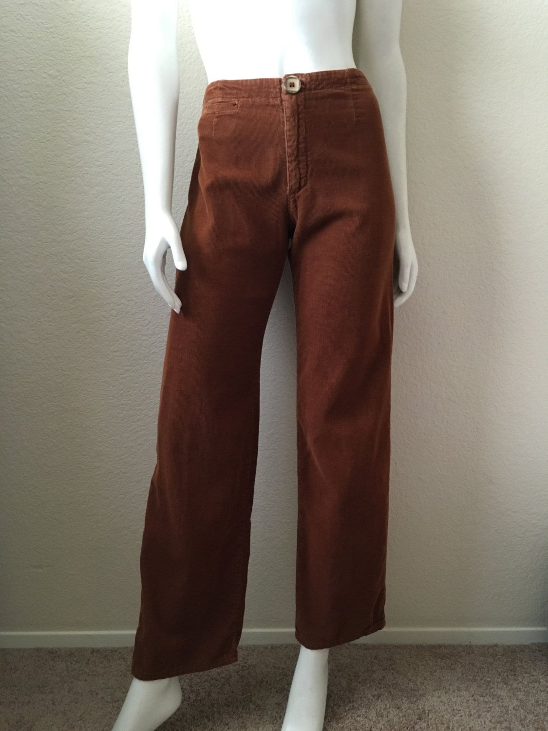 fe26c9b380 Vintage Women's 90's Corduroy Pants, High Waisted, Brown, Wide Leg by Rusty  (S/M) by Freshandswanky on Etsy