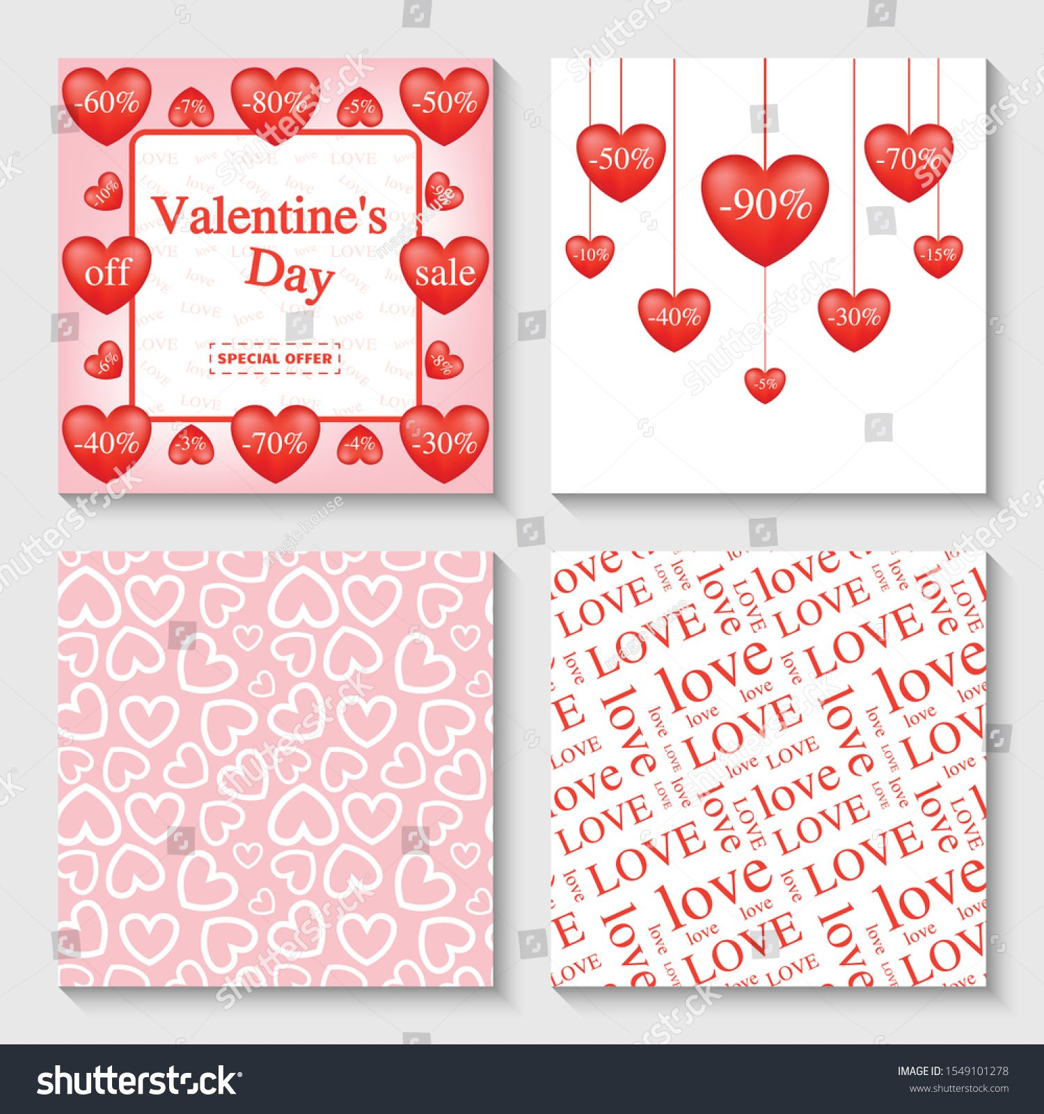 Set For Valentine S Day Discount Template For Attracting Customers Endless Love Patterns For Packaging Gifts Design For Invitations In 2020 Valentines Cards Templates