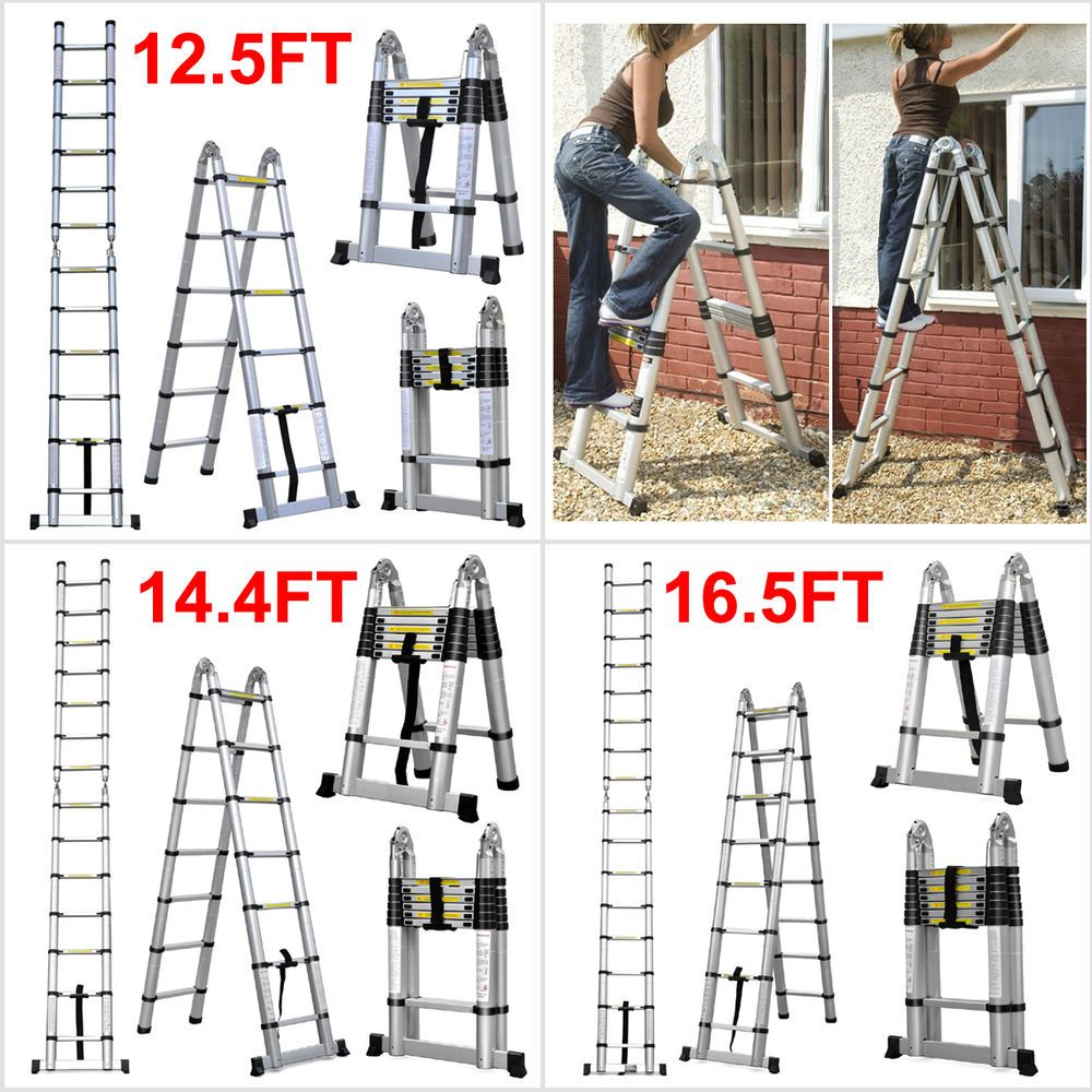 12 5 14 4 16 5 Aluminum Telescopic Ladder Telescoping A Type Extension Loft Telescopic Ladder Ladder Telescope