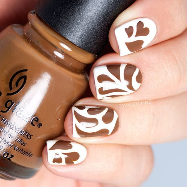 Coffee art themed nails from Yulia Vicerimus: Milv matte white nail ...