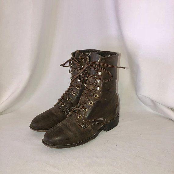 588da2bae606c Sz 6 Vintage Short Dark Brown Genuine Leather 1980s Women Flat Lace ...