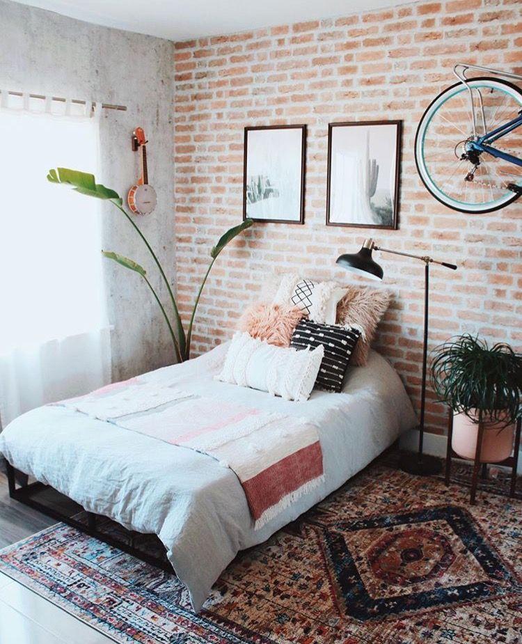 pineve yitagesu on ʙᴏʜᴏ ʙᴇᴅʀᴏᴏᴍ  brick wall bedroom