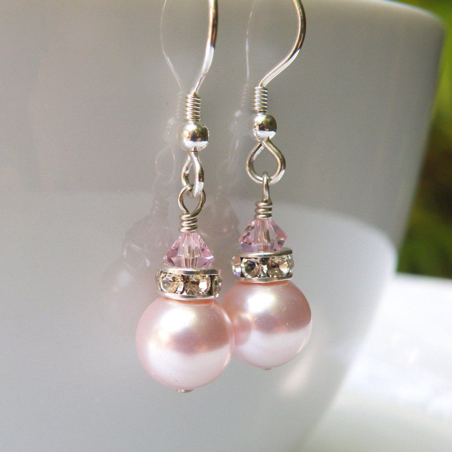 Bridesmaid Earrings Pink Pearl Earrings Gemstone Jewelry Pink Drop Earrings