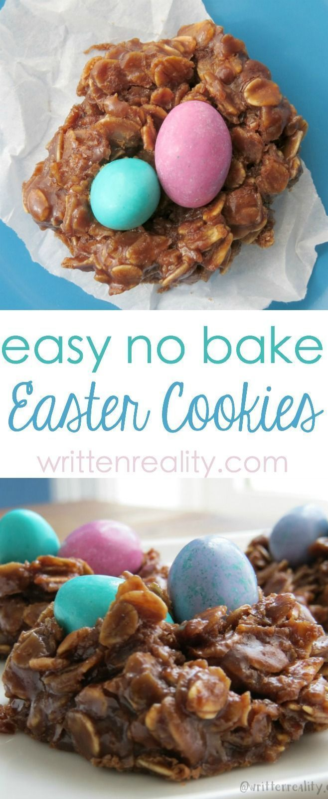 Easy No Bake Easter Cookies : These easy no bake oatmeal cookies are super easy and delicious. #easter #nobake #cookies #easterdessert #eastertreats #eastercookies #oatmeal
