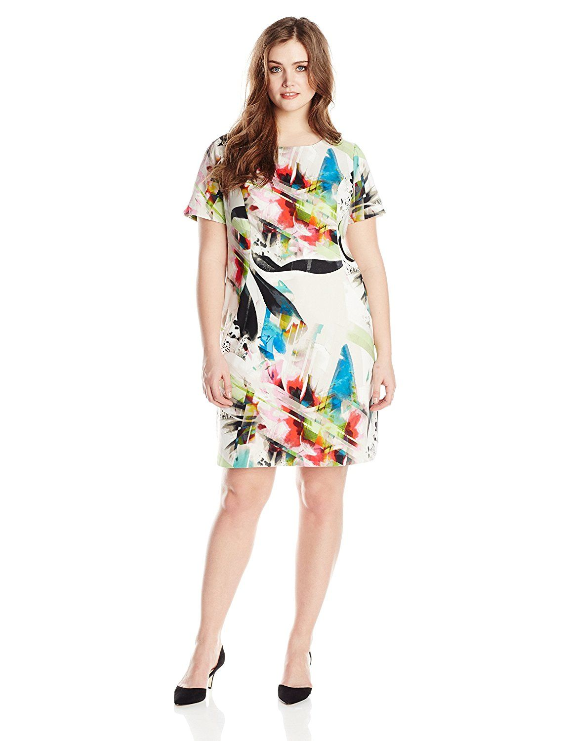 d5843161a94 AGB Women s Plus-Size Short Sleeve Brushstroke Shift Dress with Scoop Neck      Special product just for you. See it now!   Women s dresses
