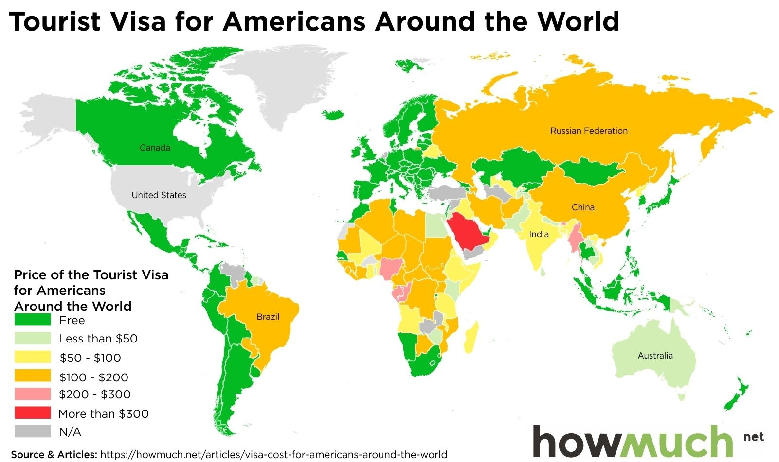 The cost of being an american tourist tourist world map