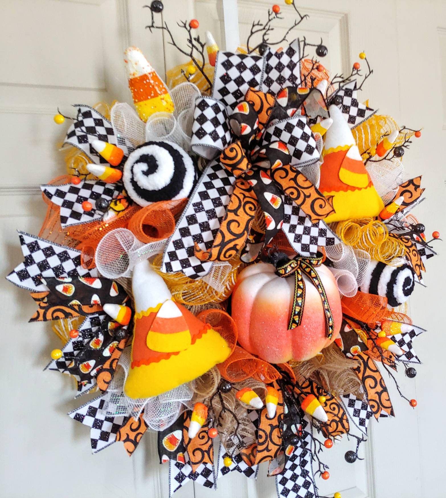 Candy Corn Halloween Wreath Bow