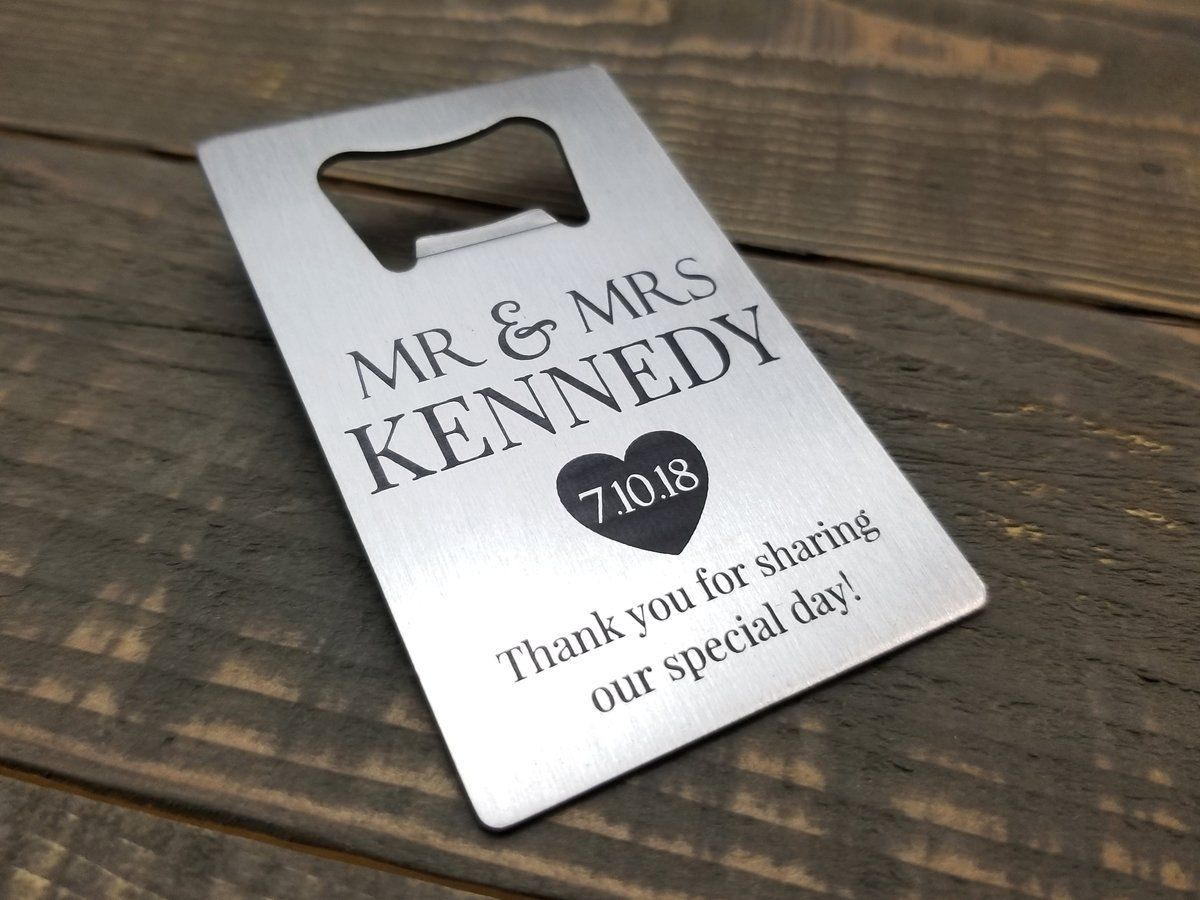 Personalized Wedding Favors - Laser Engraved Stainless Steel Credit ...