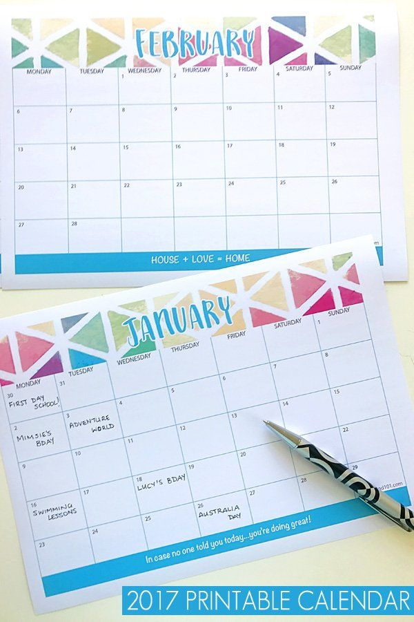 2017 Blank Calendar Printable Printable calendars, Organizing and - printable calendars